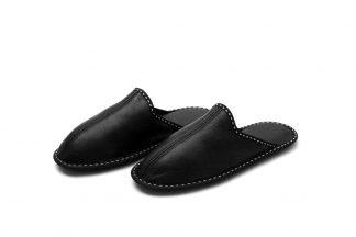 Мъжки домашни чехли от естествена кожа- черен напалан