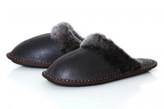 Дамски домашни чехли от естествена кожа с пух - тъмнокафяв крек