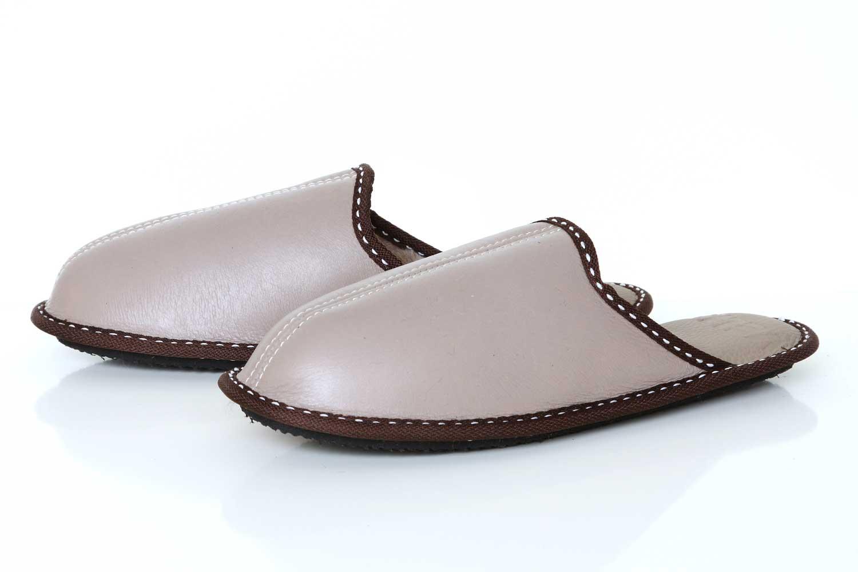 Мъжки домашни чехли от естествена кожа - бежов напалан