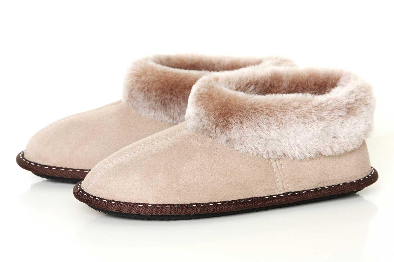 Sheepskin Slippers Beige Velis Leather