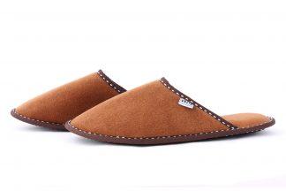 Дамски домашни чехли от полар - кафяво