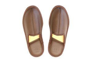 Дамки домашни чехли от естествена кожа - кафяв хагрен