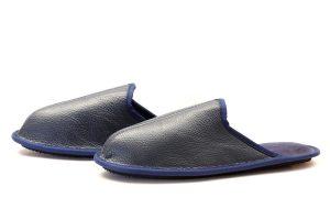Мъжки домашни чехли от естествена телешка кожа - син шагрен