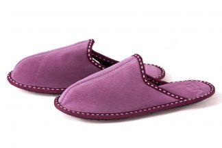 Дамски домашни чехли от телешки велур - пепел от рози