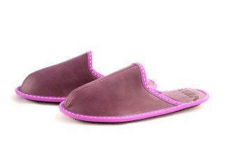 Дамски домашни чехли от естествена кожа - лилав велур