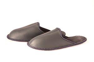 Мъжки домашни чехли от естествена кожа - тъмносин напалан
