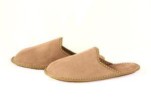 Мъжки домашни чехли от естествена телешка кожа - светлокафяво