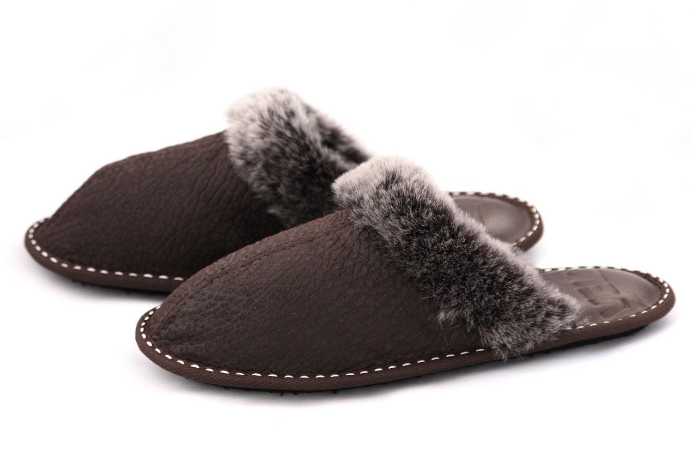 Дамски домашни чехли от естествена агнешка кожа с пух - мутон