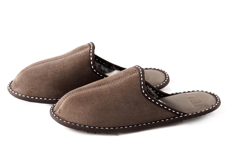 Дамски домашни чехли от естествена кожа - кафява тула