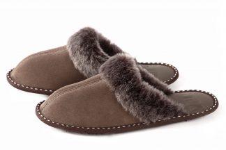 Дамски домашни чехли от естествена кожа с пух - кафява тула