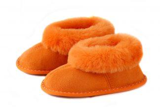 Детски пантофи от естествена кожа - оранжева тула