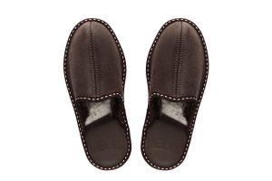 Мъжки домашни чехли от естествена кожа - кафяв крек