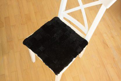 Възглавница за стол от естествена кожа - черно