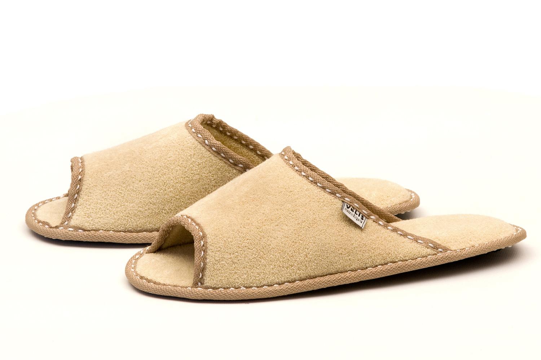 Дамски домашни чехли от полар - бежово