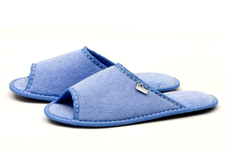 Дамски домашни чехли от полар - светло синьо