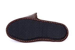 Дамски домашни чехли от естествена кожа - бежов крек