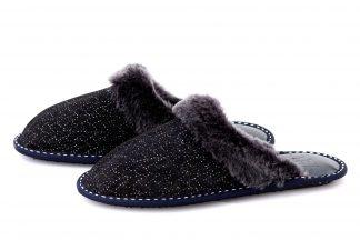 Дамски домашни чехли от естествена кожа с пух - тъмносиньо с ефект