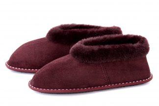 Дамски домашни пантофи от естествена кожа (тула) - бордо