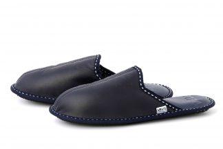 Мъжки домашни чехли от естествена кожа - син напалан