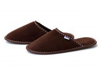 Дамски домашни чехли от полар - тъмно кафяво
