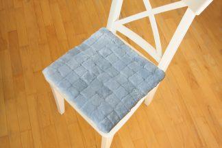 Възглавница за стол от естествена кожа - светло сиво