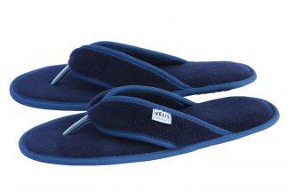 Мъжки домашни джапанки от полар - синьо