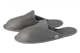 Мъжки домашни чехли от естествена кожа - сив напалан