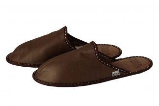 Мъжки домашни чехли от естествена кожа - тютюнев напалан