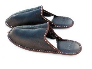 Дамски домашни чехли - тъмнокафяв напалан