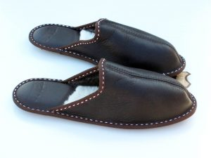 Men's home slippers - dark brown nappalan