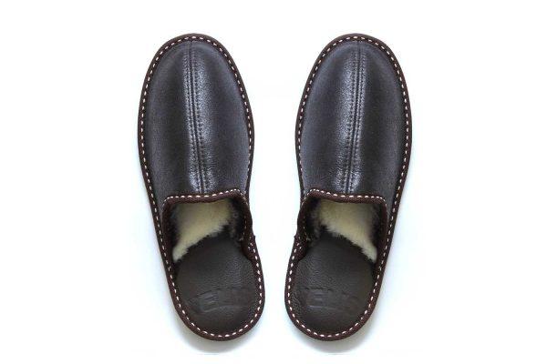 Дамски домашни чехли от естествена кожа - тъмнокафяв крек