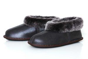 Дамски домашни пантофи от естествена кожа - тъмнокафяв крек