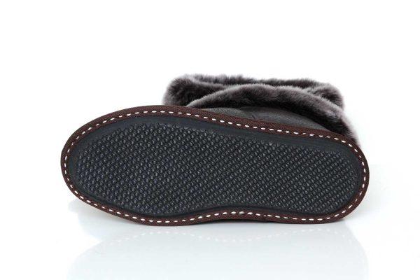 Юношески пантофи от естествена кожа - тъмнокафяв крек
