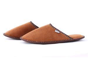 Мъжки домашни чехли от полар - кафяво