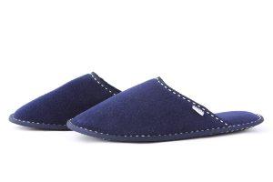 Мъжки домашни чехли от полар - синьо