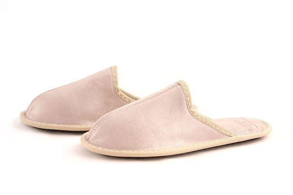 Дамски домашни чехли от телешка кожа - бежово с блестящ ефект