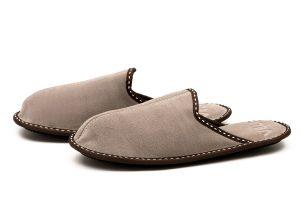 Мъжки домашни чехли от естествен телешки велур - бежово