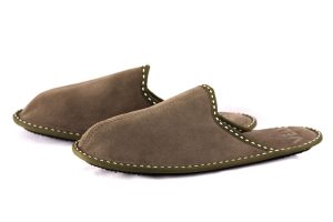 Men's genuine calfskin slippers in Olive Green Suede