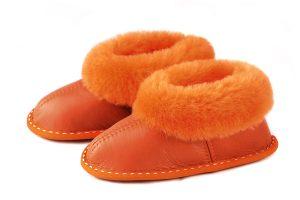 Детски пантофи от естествена кожа - оранжев напалан