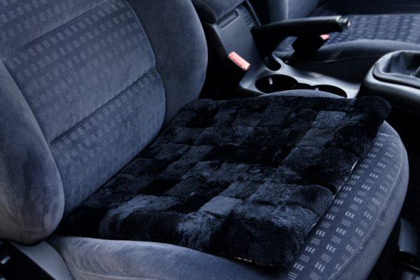 Възглавница за кола от естествена кожа - черно