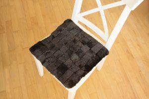 Възглавница за стол от естествена кожа - кафяво