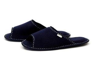 Дамски домашни чехли от полар - тъмно синьо