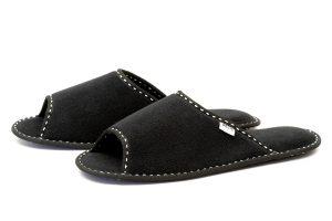 Мъжки домашни чехли от полар - черно