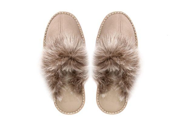 Дамски домашни чехли от естествена кожа с пух - бежов напалан
