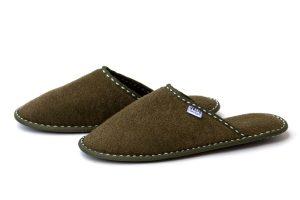 Мъжки домашни чехли от полар - маслено зелено