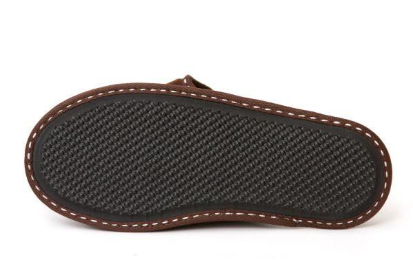 Мъжки домашни чехли от полар - тъмно кафяво