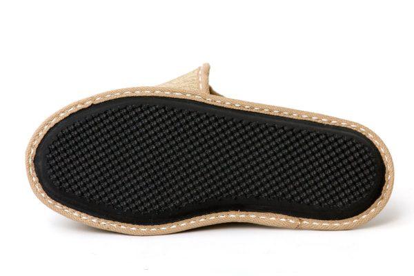 Дамски домашни чехли от естествена кожа - екрю
