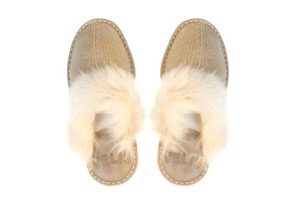 Дамски домашни чехли с пух - агнешка кожа, екрю