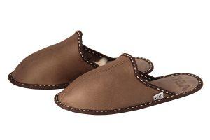 Дамски домашни чехли от естествена кожа - кафяв напалан
