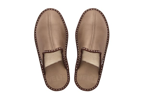 Дамски домашни чехли от естествена кожа - кафяв напалан, капучино